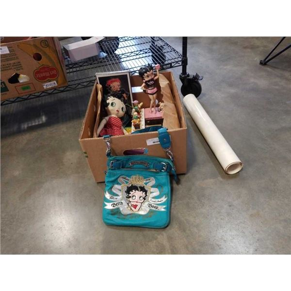 Box of Betty Boop collectibles including porcelain statue