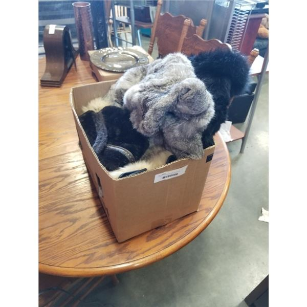 2 RABBIT FUR COATS, AND OTHER FUR GLOVES AND HAT