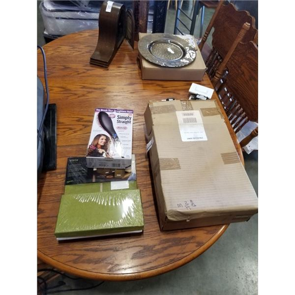 3 NEW VISTA COLLAPSIBLE STORAGE BOXES AND HAIR STRAIGHTENER