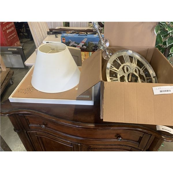DECORATIVE METAL WALL CLOCK, ACRYLIC TABLE LAMP AND WORLD MAP CORK BOARD