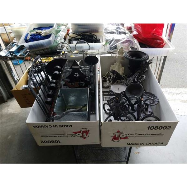 Two boxes of various decorative metal items