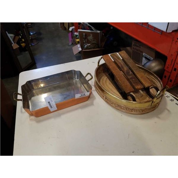 COPPER TRAY, BRASS AND WICKER TRAY AND MINI SLEIGH