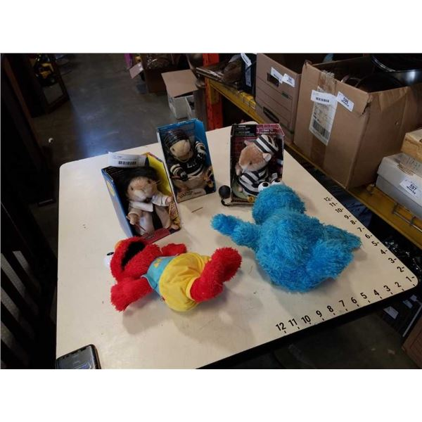 3 DANCING HAMSTER TOYS, COOKIE MONSTER DOLL AND ELMO MOTORIZED TOY