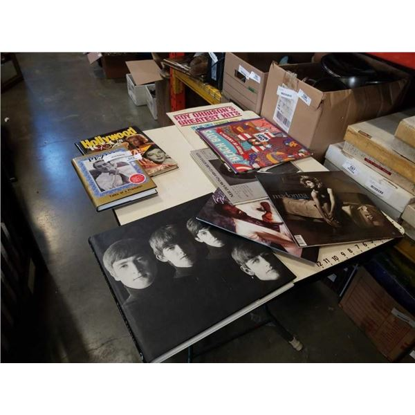 BEATLES COFFEE TABLE BOOK, HOLLYWOOD 1950s BOOK AND PEZIM TALES OF A PROMOTER AND RECORDS