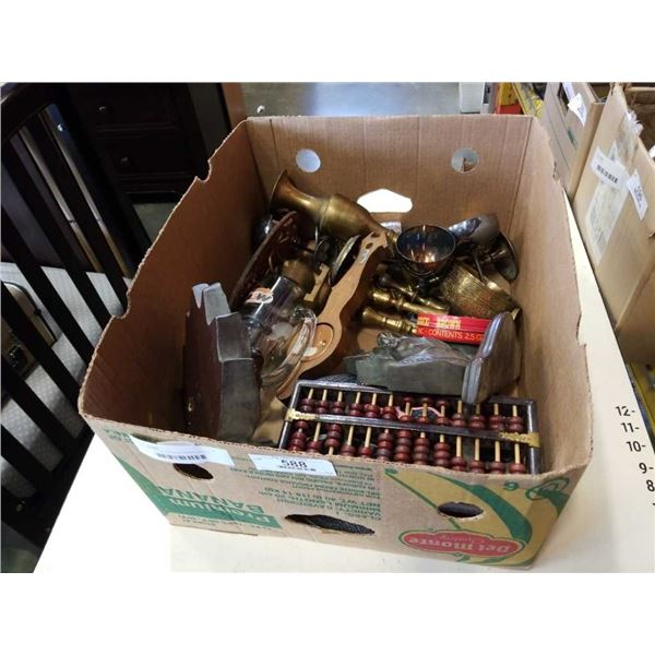 BOX OF COLLECTABLES, BRASS DECOR, ABACUS,
