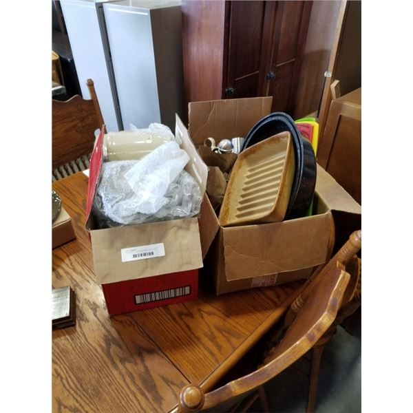 2 BOXES OF KITCHEN ITEMS, MUGS AND TEAPOT, CUTTING BOARDS