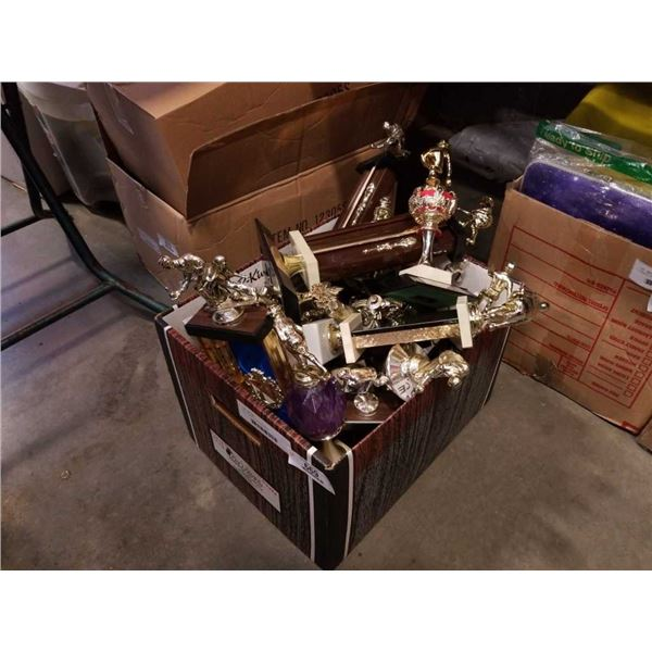 Box of various bowling trophies