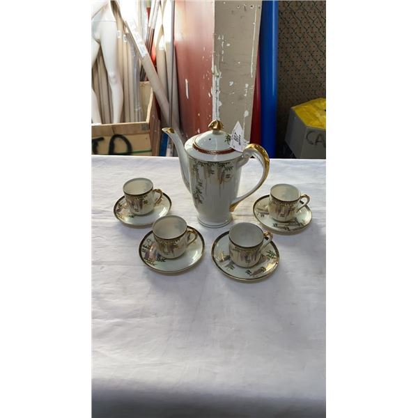 MBS JAPAN FINE CHINA TEASET WITH TEAPOT AND 4 GEISHA FACE CUPS AND SAUCERS