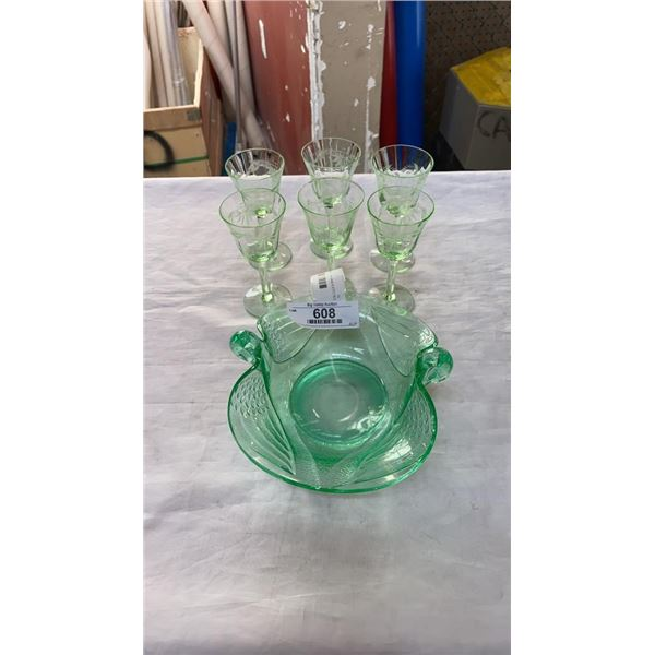URANIUM GLASS SWAN DISH AND 6 ETCHED GLASSES