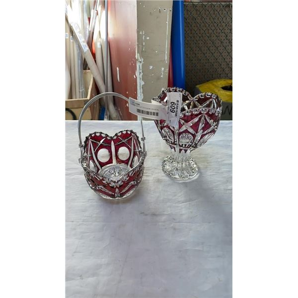 HOFBAUER CUT TO CLEAR CRYSTAL BASKET AND CUT TO CLEAR CRYSTAL BASKET