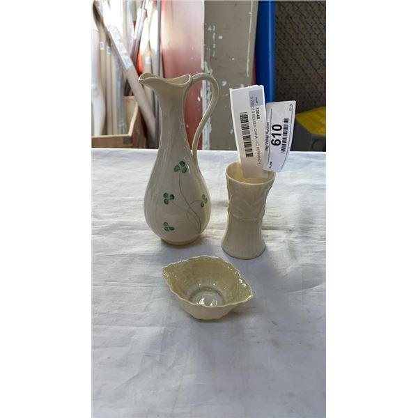 3 PIECES BELEEK CHINA - 7 INCH PITCHER AND 3 1/2 INCH VASE AND CO FERMANCH IRELAND SHELL DISH