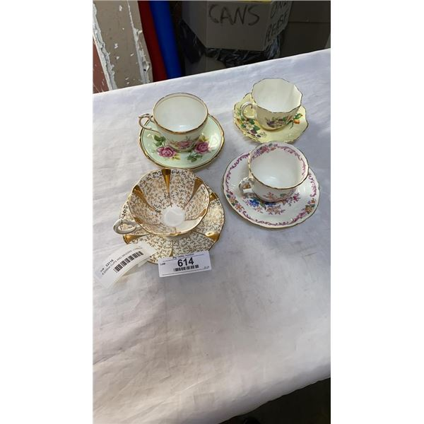 4 CHINA CUPS AND SAUCERS - 2 PARAGON, QUEEN ANNE AND STAFFORDSHIRE
