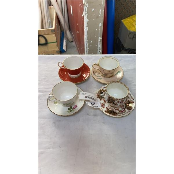 4 CHINA CUPS AND SAUCERS - 2 AYNSLEY, ROYAL VALE AND ELIZABETHAN