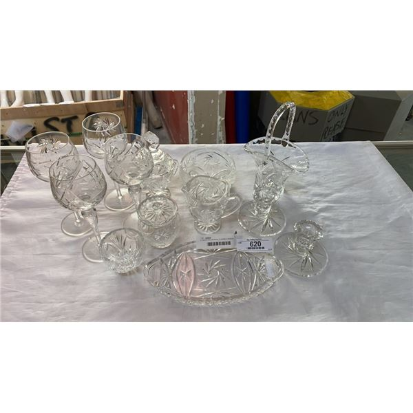 2 TRAYS OF CRYSTAL GLASSES, BASKET, LIDDED DISH