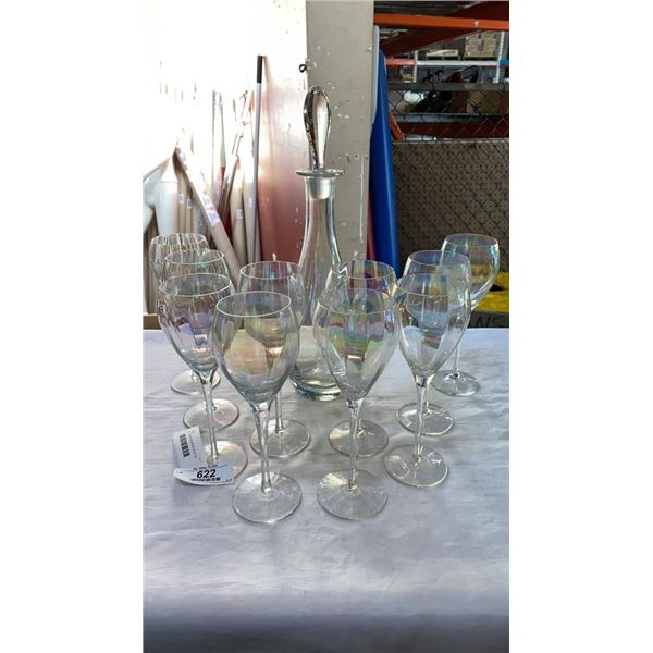 IRIDESCENT GLASS DECANTER WITH 10 GLASSES