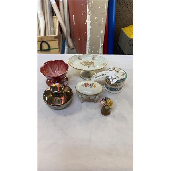 LOT OF CHINA  - LIMOGES PEDESTAL DISH, BESWICK FLOWER DISH, GERMAN AND OTHER CHINA