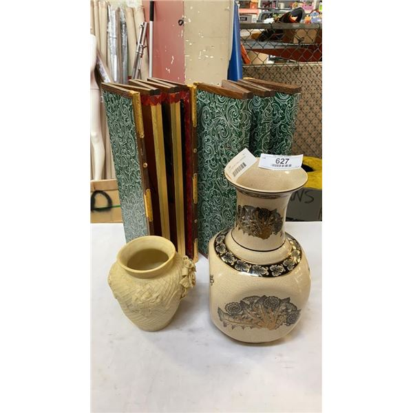 2 POTTERY VASES AND 2 SMALL DIVIDERS