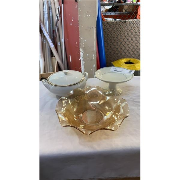 CARNIVAL GLASS FRUIT BOWL, ETCHED GLASS BOWL, VITRIFIED WOOD AND SONS PEDESTAL DISH AND ROYALTON TRA