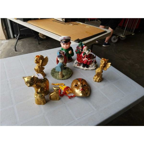 LOT OF BRASS CAT FIGURES AND OTHER FIGURES