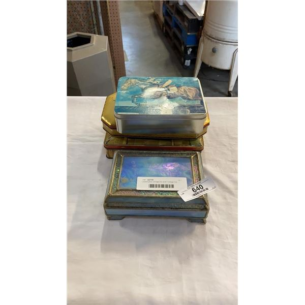 Leaded glass storage box and 3 vintage tins
