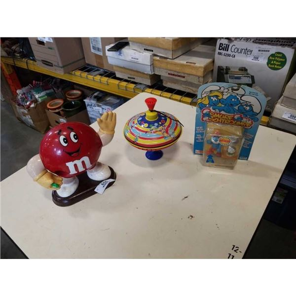 PAPA SMURF TOY, MNM DISPENSER AND SPINNING KIDS TOY