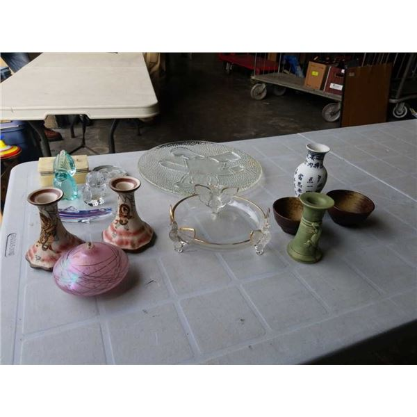 LOT OF ART GLASS AND OTHER FIGURES, STONE JEWELRY BOX, EASTERN CANDLESTICKS AND VASE