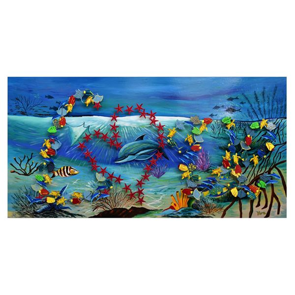 "Vera V. Goncharenko- Original Painting on Cutout Steel and Board ""Ocean Life"""