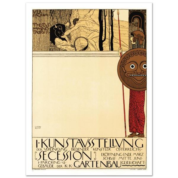 "RE Society, ""Kunstavsstellvung"" Hand Pulled Lithograph, Image Originally by Gustov Klimt."