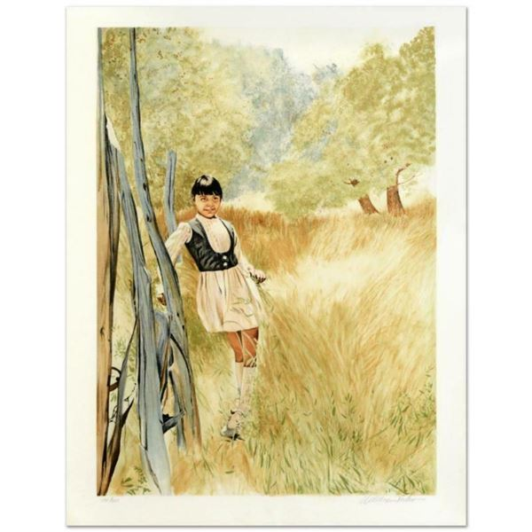 "William Nelson, ""Girl in Meadow"" Limited Edition Serigraph, Numbered and Hand Signed by the Artist."