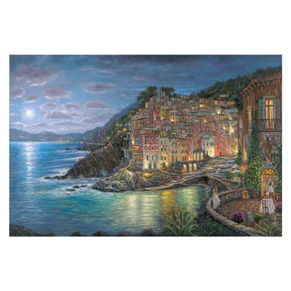 "Robert Finale, ""Awaiting Riomaggiore"" Hand Signed, Artist Embellished EE Limited Edition on Canvas w"