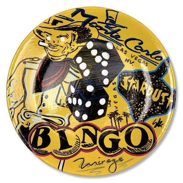 "Steve Kaufman (1960-2010) ""Bingo"" Hand Painted Plate, Hand Signed with Letter of Authenticity."