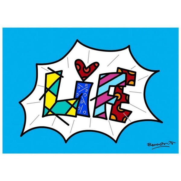 """Romero Britto """"Life Blue Mini Word"""" Hand Signed Giclee on Canvas; Authenticated"""