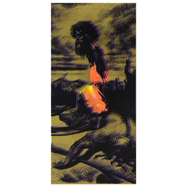 """Steve Kaufman (1960-2010) """"David and Goliath Gold"""" Hand Embellished Limited Edition Silkscreen on Ca"""