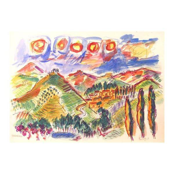 "Wayne Ensrud ""Regaleali Vineyards in Sicily"" Mixed Media Original Artwork; Hand Signed; COA"