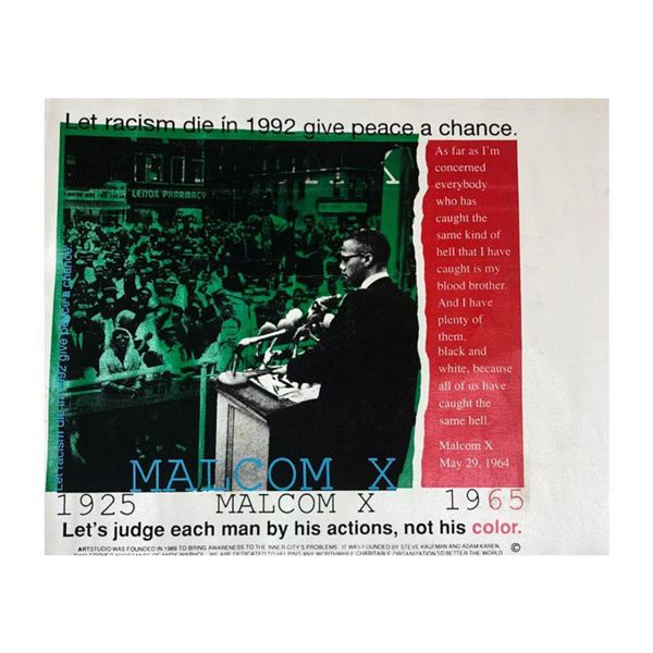 """Steve Kaufman (1960-2010) """"Malcolm X (State 3)"""" Hand Signed Hand Pulled silkscreen mixed media on Ca"""