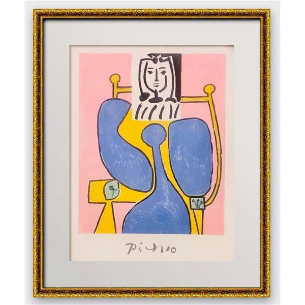 "Pablo Picasso- Lithograph on Arches Paper ""Femme Assise a la Robe Bleue"""