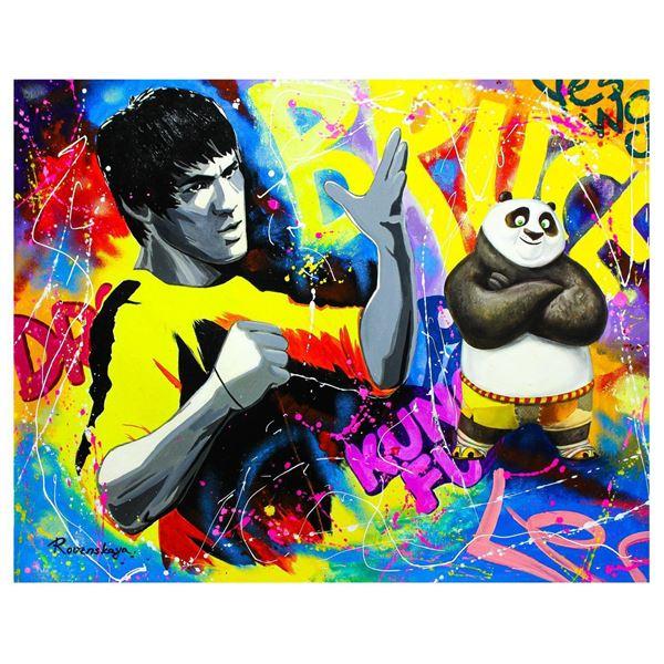 """Nastya Rovenskaya- Original Oil on Canvas """"Bruce Lee & Kung Fu Panda"""""""