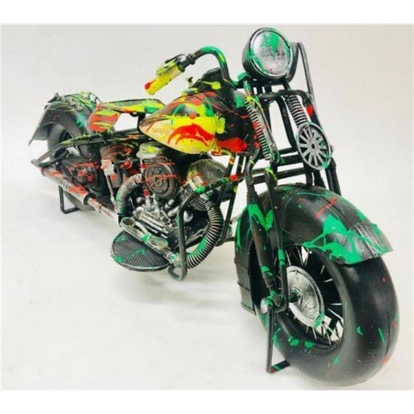 "E.M. Zax- Hand Painted metal sculpture  ""Harley Davidson"""
