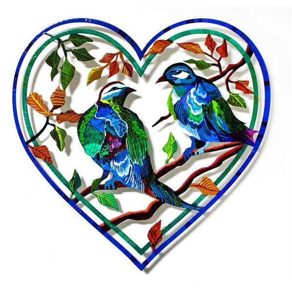 "Patricia Govezensky- Original Painting on Laser Cut Steel ""Love Birds XX"""