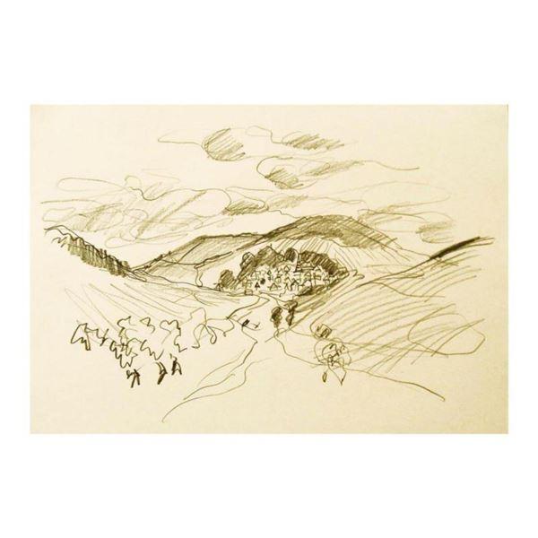 "Wayne Ensrud ""View of Nuits St Georges, Burgundy"" Pencil Original Artwork; Hand Signed; COA"