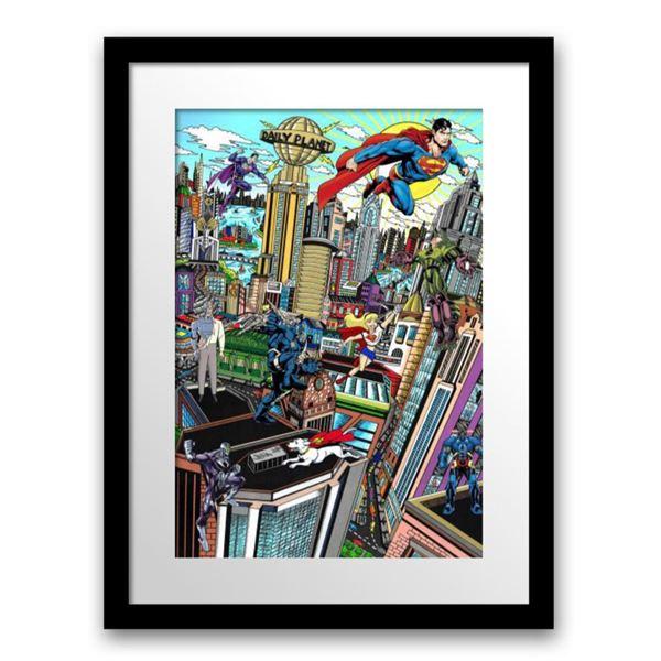 "Charles Fazzino- 3D Construction Silkscreen Serigraph ""SUPERMAN SAVES THE DAY"""