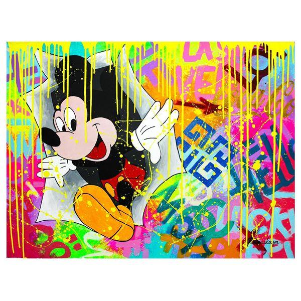 "Nastya Rovenskaya- Original Oil on Canvas ""Surprise by Mickey Mouse"""