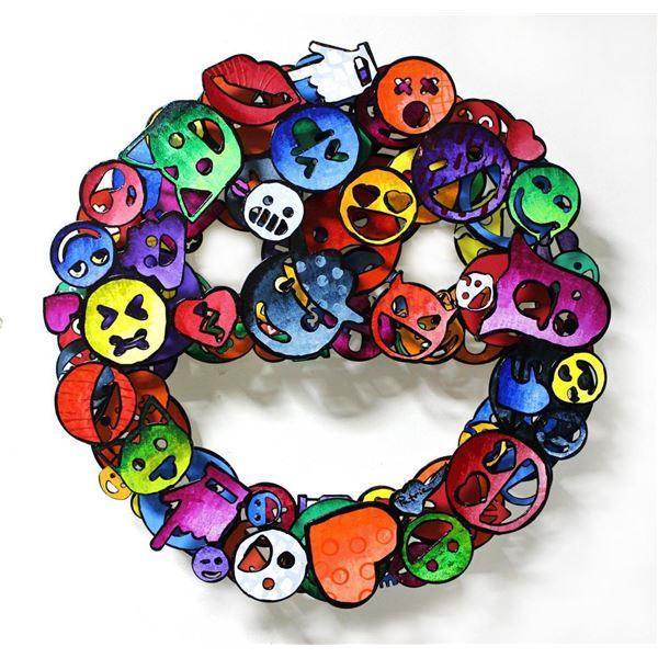 "Patricia Govezensky- Original Painting on Cutout Steel ""Emoji"""