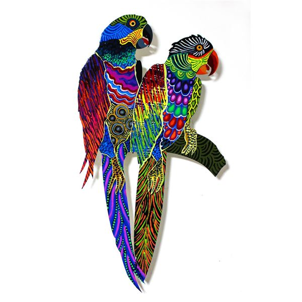 "Patricia Govezensky- Original Painting on Laser Cut Steel ""Two Parrots XX"""