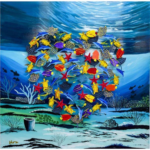 "Vera V. Goncharenko- Original Painting on Cutout Steel and Board ""Deep Sea Love"""