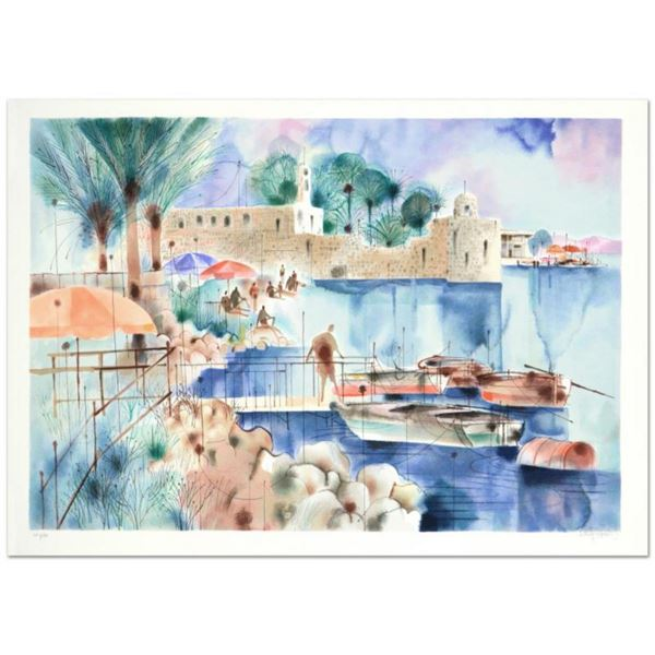 """Shmuel Katz (1926-2010), """"Sea of Galilee"""" Limited Edition Serigraph Numbered and Hand Signed with Ce"""