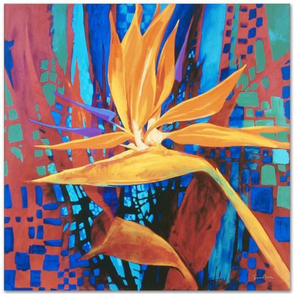 """Bird of Paradise"" Limited Edition Giclee on Canvas by Simon Bull, Numbered and Signed. This piece c"