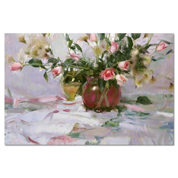 "Dan Gerhartz, ""Roses and Thistle"" Limited Edition on Canvas, Numbered and Hand Signed with Letter of"