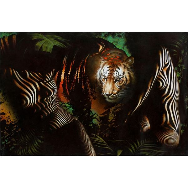 "Vera V. Goncharenko- Original Giclee on Canvas ""The Ladies with the Tiger"""