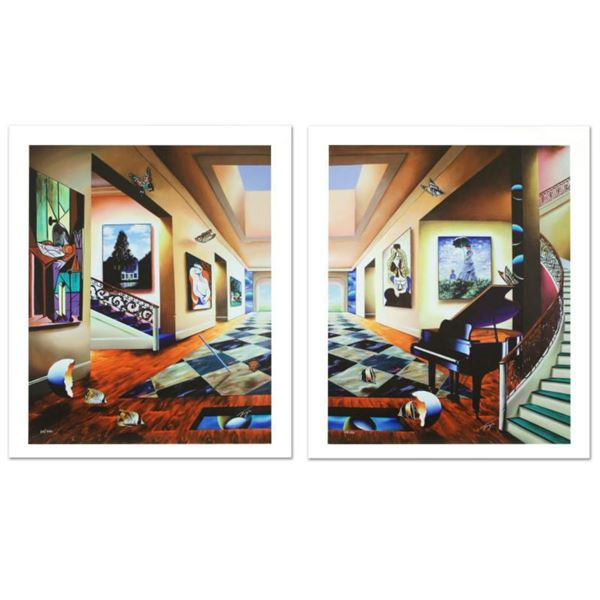 """Perfect Afternoon"" Limited Edition Giclee Diptych on Canvas by Ferjo, Numbered and Hand Signed with"